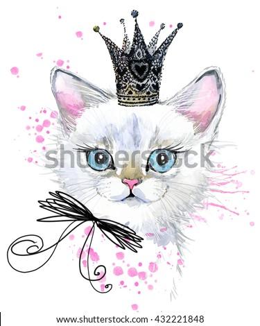 Cute cat. Watercolor Cat illustration. Birthday card. T-shirt print. Greeting card. Pet illustration. Poster illustration. Kitten. Cat.