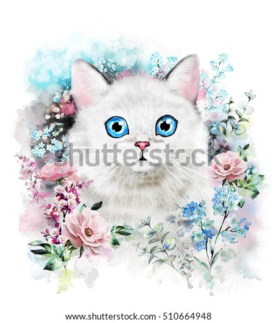 Cute cat. Watercolor Cat illustration. T-shirt print, card. Poster cat. Flower and splash paint. Isolated, hipster, animal