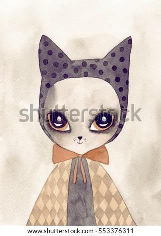 cute cat watercolor drawing
