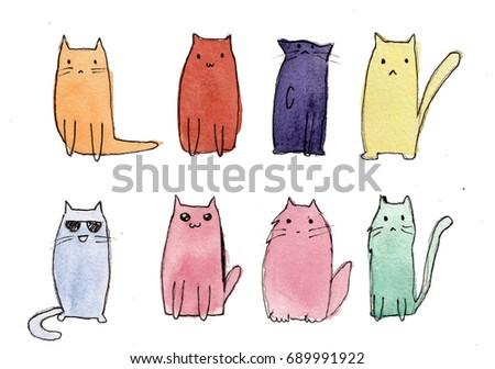Cute cats watercolor sketch