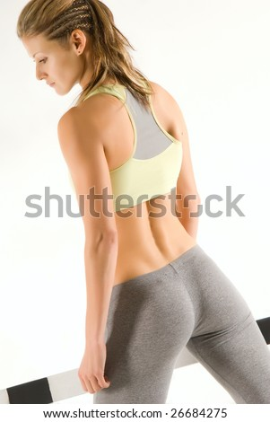 Cute caucasian sportive model with hurdle #26684275