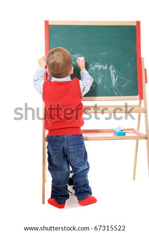 Cute caucasian toddler doodling. All isolated on white background. - stock photo
