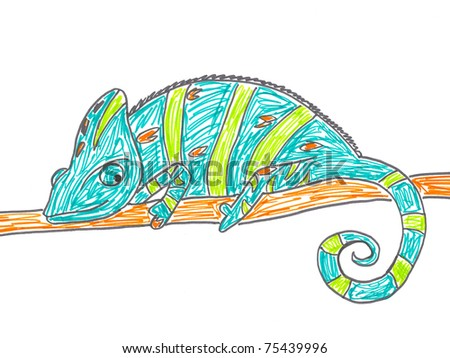 Cute chameleon on tree branch. Hand drawing illustration.