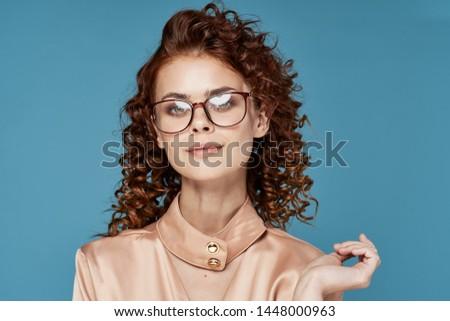 Cute charming woman curls pink shirt charm lifestyle model