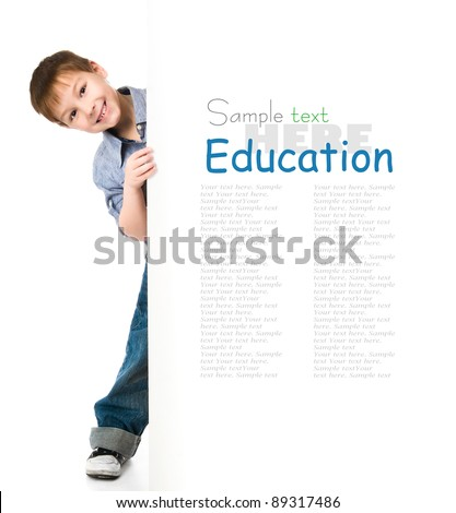 cute child behind a board over white background - stock photo