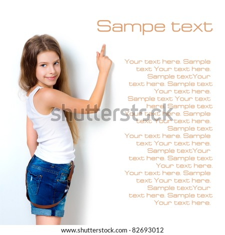 cute child behind a white board isolated