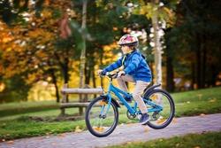 Cute child, boy riding bike in park, autumn afternoon soft sun light