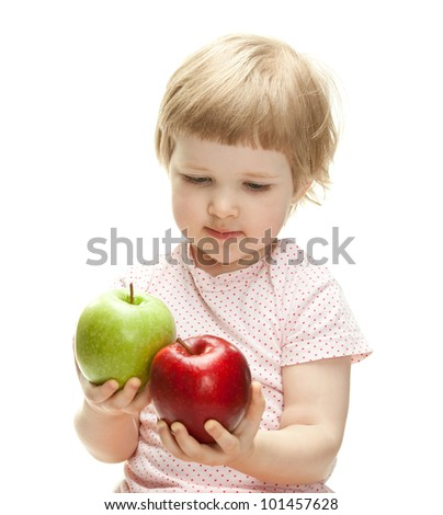 Cute child holding apples looking at them, isolated on white