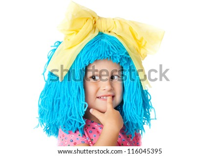 Cute child in costume with blue hair, isolated over white