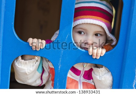 cute child playing at the playground