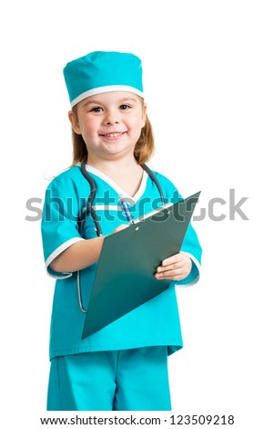 Cute child uniformed as doctor over white background