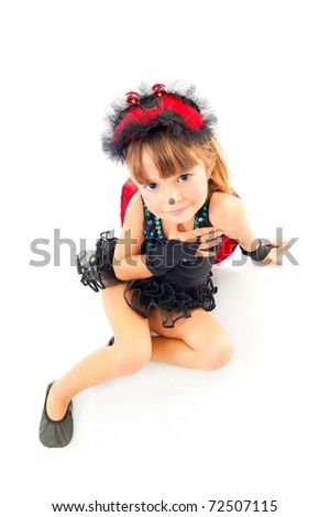 Cute child with Ladybug costume party on the floor. - stock photo