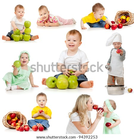 Cute children with healthy food apples. Isolated on white background. - stock photo
