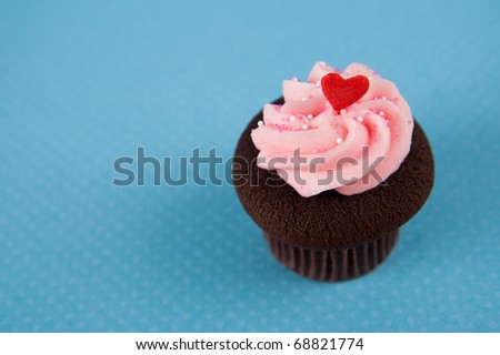 Cute Chocolate Cupcake with Pink Frosting and Tiny Red Heart