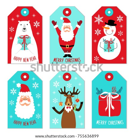 Cute Christmas cartoon characters of Santa Claus, Reindeer, Snowman and Polar Bear as tags for your decoration