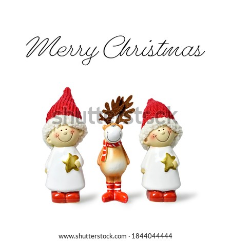 Cute Christmas elves and reindeer isolated on white background. Christmas greeting card