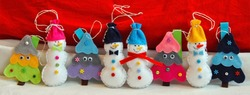 Cute Christmas Facebook Cover Photo. Holiday trees with eyes and decorations, and snowmen with colorful hats. Handmade unique felt Christmas decorations