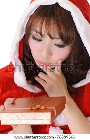 Cute Christmas girl, half length closeup portrait on white background.