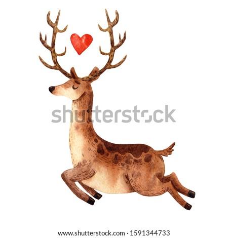 Cute christmas Santa deer. Cartoon hand drawn animal. Fun traditional creature. Greeting new year card. Funny brown deer. Watercolor illustration. Happy reideer. Winter forest. Christmas eve. Big horn