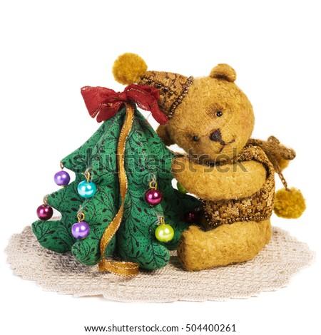cute classic teddy bear with christmas tree decoration fully handmade