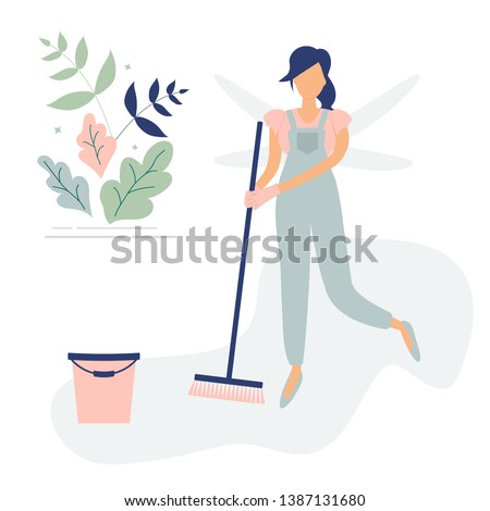 Cute cleaner woman in blue overalls like a butterfly with sweeping brush and bucket.Decorated beautiful leaves and branches.Raster illustration.For ad,logo for cleaning company,leaflets,flyers