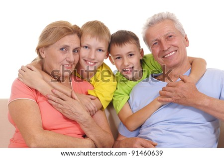 cute colorful family smiling on a white #91460639