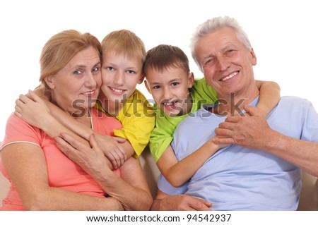 cute colorful family smiling on a white #94542937