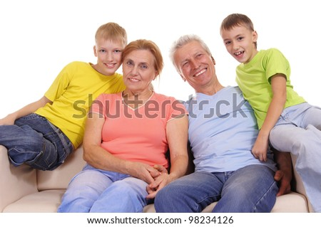 cute colorful family smiling on a white #98234126