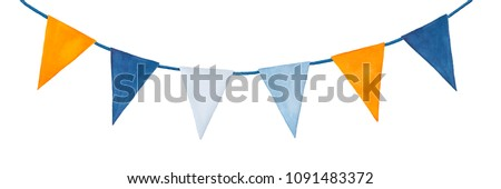 Cute, colorful, party garland with decorative festive flags. Yellow orange, light blue, dark indigo colors; triangular shape. Hand drawn water colour graphic painting on white, clip art for design.