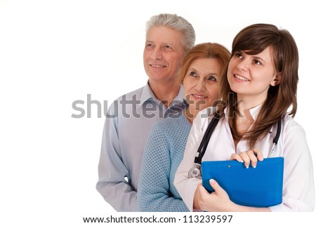 Cute couple came to the reception to the young doctor