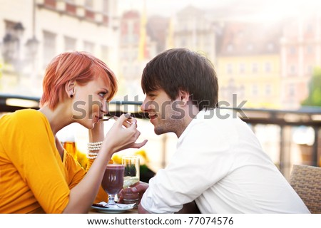Cute couple eating lunch