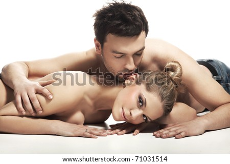 Cute couple lying on the floor