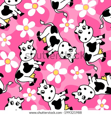 Cute cow and flowers seamless pattern .