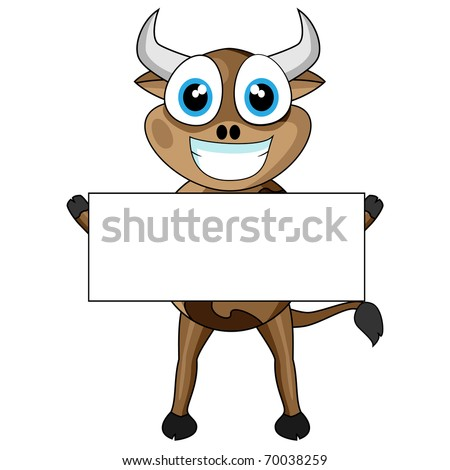 Cute Cow Holding a Blank Sign