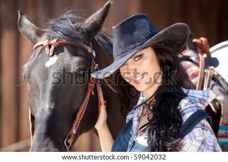 Cute cowgirl on ranch, wild west concept