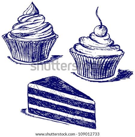 Cute cupcake. Raster