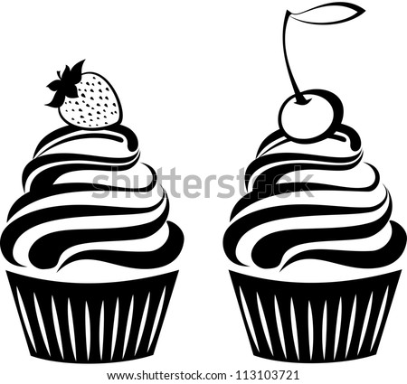 Cute cupcakes set isolated on White background. illustration