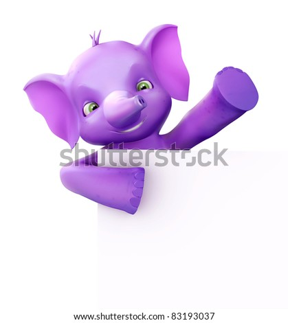 Cute 3d elephant holding a paper and waving - stock photo