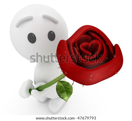 "cute 3d guy offers you a rose(""Happyman"" series) - Say it with flowers -  with funky flowers !"