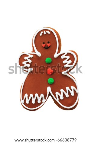 Cute decorated gingerbread cookie isolated on a white background with clipping path.