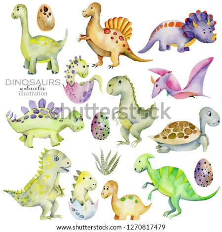 Cute dinosaurs collection watercolor illustration, hand painted isolated on a white background
