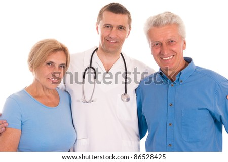 cute doctor with old patients on white