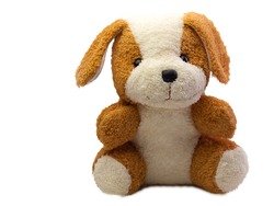 Cute dog doll isolated on white background.  (with free space for text)
