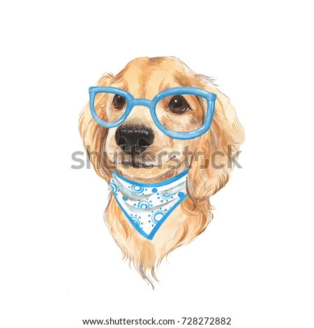 Cute dog sketch. Hand painted. Watercolor illustration 7