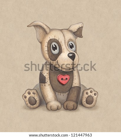 Cute dog toy illustration. Perfect for greeting card - stock photo