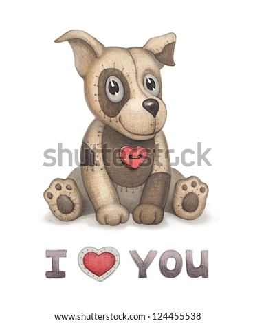 Cute dog toy illustration Perfect for greeting card