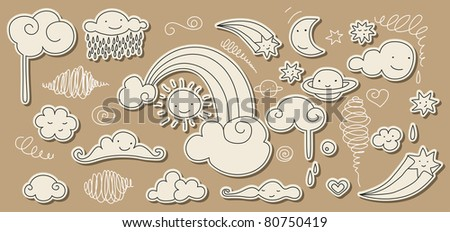 Cute doodle of sky elements: sun, moon, clouds, stars, rainbow. For vector version see my portfolio.