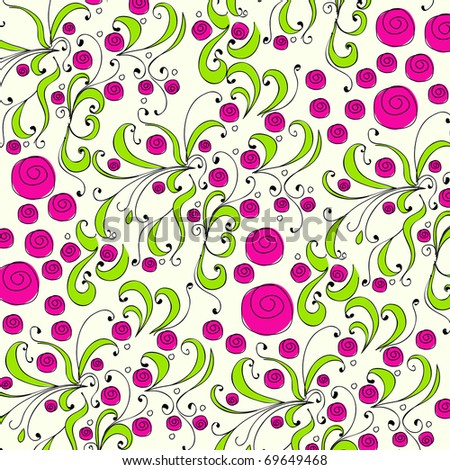 Cute doodle spring background illustration - stock photo