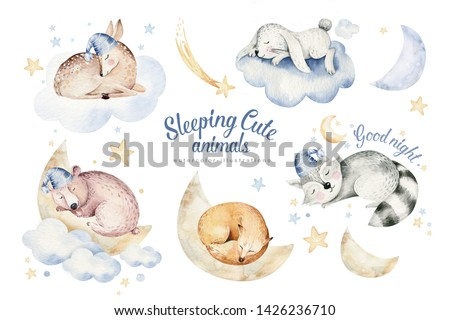 Cute dreaming cartoon animal hand drawn watercolor illustration. Can be used for t-shirt print, kids nursery wear fashion design, baby shower invitation card.