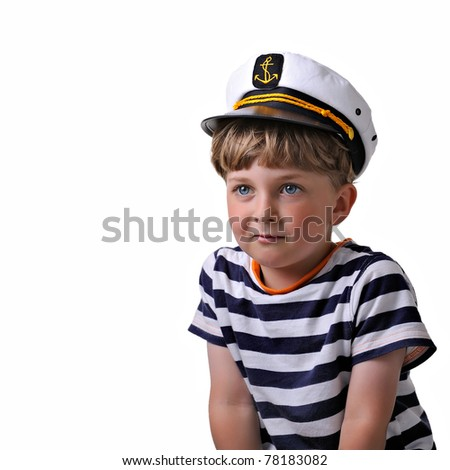fe122b352aa9d Cute dreaming child in captain cap. isolated over white background.   78183082